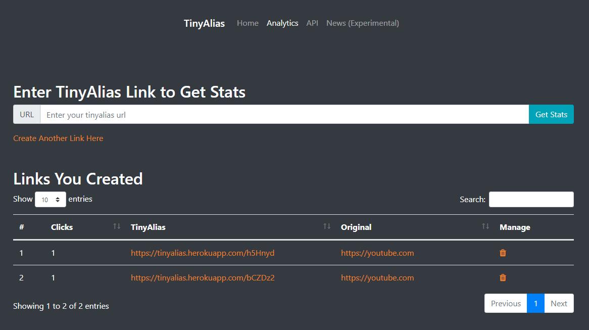 TinyAlias Analytics